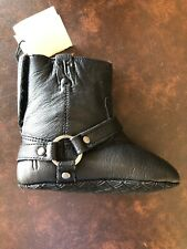 FRYE Baby Girl Boots Black Leather Velcro Size 3 Harness Shearling Bootie