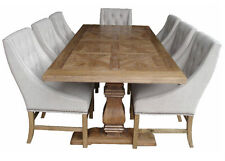 Elm wood  French Provincial Pedestal Dining Table with 6 Hennessy chairs setting
