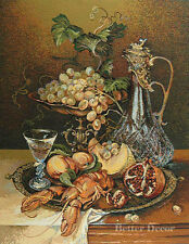 """27"""" WALL JACQ. WOVEN TAPESTRY Still Life with Pomegranate - VICTORIAN PICTURE"""