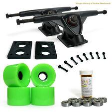 """LONGBOARD Skateboard TRUCKS COMBO set w/ 76mm Green WHEELS + 9.675"""" Black trucks"""
