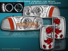 2000-06 GMC YUKON DENALI XL HALO HEADLIGHTS W/ LED CHROME + TAIL LIGHTS ALTEZZA