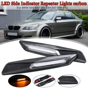 Pair 18LED Fender Side Marker Turn Signal Light For BMW 1/3/5 Series Carbon Look