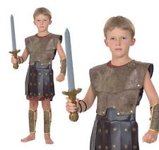 Childrens Roman Fancy Dress Costume Gladiator Greek Soldier Outfit Childs L