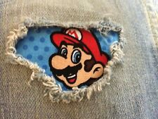 "1- Mario Super Mario Brothers 4"" x 4"" Iron on Peek-A-Boo Jean Patches"