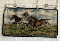 """Vintage 19"""" X 38"""" Made In ITALY Hand Woven Majestic Horses Tapestry Wall Art Rug"""