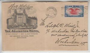ADVERTIOSING ARLINGTON HOTEL HOT SPRINGS NATIONAL PARK ARK JAN 7 1940 FACADE++++