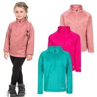 Trespass Celina Girls Kids Pink & Green Fleece Half Zip Hiking School Jumper