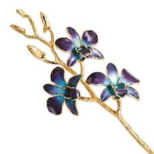 Flowers & Leaves Lacquer Dipped 24K Gold Trim Purple & Blue Orchid Stem