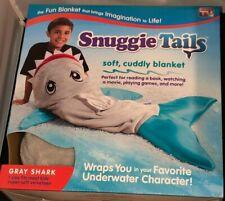 AS SEEN ON TV KIDS SNUGGIE TAILS SUPER SOFT BLANKET GRAY SHARK BRAND NEW
