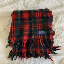 VTG Pendleton Wool Blanket Red Green Blue Tartan Plaid Fringe 50x56 Holiday USA
