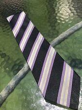 XMI Platinum Tie Purple Blk White Stripe Thick Woven Luxury 3 3/4 x 62 SD10