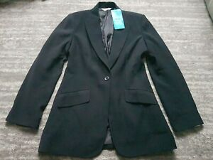 Next Suit Jacket Black Size 12 Long Line Bnwt Shoulder Pads Fitted