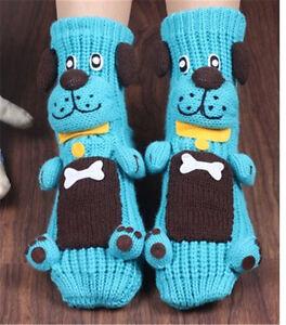 Women 3D Cute Cow Dog Panda Animal Christmas Slipper Socks Xmas Wool knit Socks
