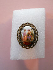 Vintage Oval Hand Painted Courting Scene Porcelain Button w/ Filigree Bezel