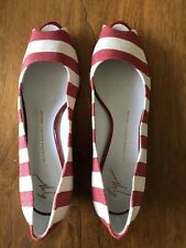 Giuseppe Zanotti Canvas Peep Toe Wedge Pumps IT 41 US 10? Red White