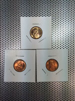 LOT ORIGINAL 1945-P 1945-D 1945-S CH/GEM RED BU LINCOLN WHEAT CENT YEAR SET