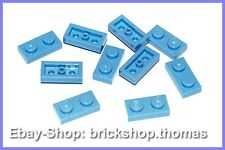 Lego 10 x Platte (1 x 2) - 3023 blau - Medium Blue Plate - NEU / NEW
