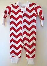 Brand New Kelly's Kids Jaden Tango Red Chevron Stripe Sleeper ~ Sz 12 Month