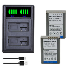 2X BLN-1 Battery + lcd charger for Olympus OM-D E-M1 E-M5 Mark II PEN-F E-P5 EM1