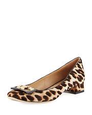 NIB Tory Burch Gigi Logo 25mm Pumps Shoes NATURAL LEOPARD 9.5 M Runs large
