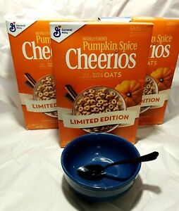 Lot of 3 Boxes ~ Pumpkin Spice Cheerios ~ Gluten Free Cereal ~ Limited Edition