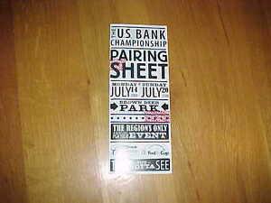 2008 US Bank Championship Pairing Sheet 7/20 Final Round Milwaukee
