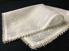 #6376🌟Antique Art Deco 20s Floral Embroidery Tatted Lace Wedding Handkerchief