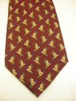 Men's NeckTie Tie 100% Silk Polo Ralph Lauren Mallard Ducks Hunting Burgundy USA