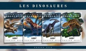 Togo - 2018 Dinosaurs on Stamps - 4 Stamp Sheet - TG18102a