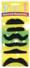 6 Assorted Black Moustaches - Fancy Dress Costume Stick On Self Adhesive