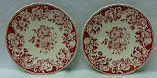 """ROYAL DOULTON china POMEROY RED pattern Set of Two (2) Saucers - 5-3/4"""" - crazed"""