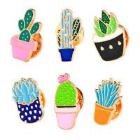 6PCS/Set Enamel Brooch Pins Plant Cactus Collar Pin Badge Women Jewelry Gift Sa