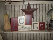 Valentine's day LOVE ALWAYS Sign Rustic Wood Shelf Sitter Block Signs Home Decor