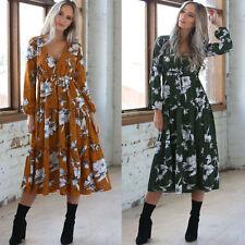Boho Womens Cotton Floral Long Sleeve V Neck Casual Loose Beach Long Maxi Dres
