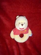 Doudou Disney Baby Hochet Grelot Winnie Jaune Pull Rouge 14 Cm