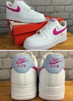 NIKE LADIES UK 6.5 EU 40.5 AIR FORCE 1 07 WHITE FIRE PINK LEATHER TRAINERS  EP