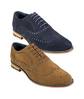 Mens Navy Blue & Tan Brown Suede Brogue Lace Up Formal Casual Smart Office Shoes