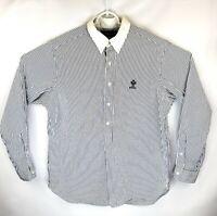 Rare Ralph Lauren Mens Large Striped 1/2 Button Embroidered Long Sleeve Shirt