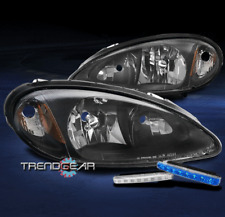 FOR 2001-2005 CHRYSLER PT CRUISER BLACK HEADLIGHT HEADLAMP W/BUMPER BLUE LED DRL