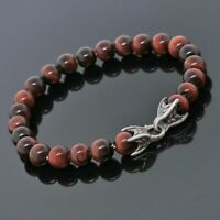 David Yurman Sterling Silver 8mm Red Tiger Eye Spiritual Bead Men Bracelet 8.25""