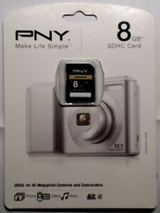 New PNY PREMIUM 8GB SDHC Card Class 4 Flash Memory Card 2hr HDVideo P-SDHC8G4-EF