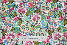 Sugar Skulls Flowers Butterflies White Flannel Fabric  BTY  (J9) +