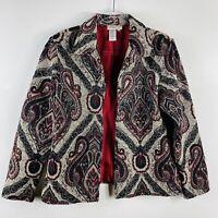 Coldwater Creek Size Medium Jacquard Printed Beaded Blazer Jacket Tan Red Black