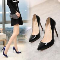 Men's High Heels Crossdresser Pumps Drag Queen Black Patent Leather Large Shoes