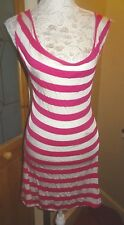 ATMOSPHERE FUSCHIA/WHITE STRIPE STRETCH OPEN BACK VEST DRESS+SEQUINS 16/18 BNWT