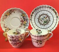 COPELAND SPODE CUPS AND SAUCERS ENGLAND COWSLIP FAIRY DELL 1940'S SET OF 2