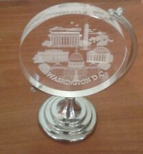 Vintage US Capital 3D Laser Etched Crystal Glass On Stand With Box