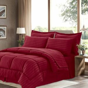1Piece Burgundy Comforter Cotton 800TC Size Microfiber Fill Light Weight Stripe