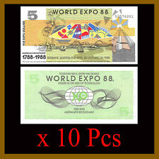 Australia 5 Dollars World Expo x 10 Pcs Lot, 1988 Bicentenary (1788-1988) Unc
