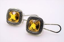A177 EXQUISITE Balinese Silver Wheat Cable Topaz CZ Crystal Square Earrings